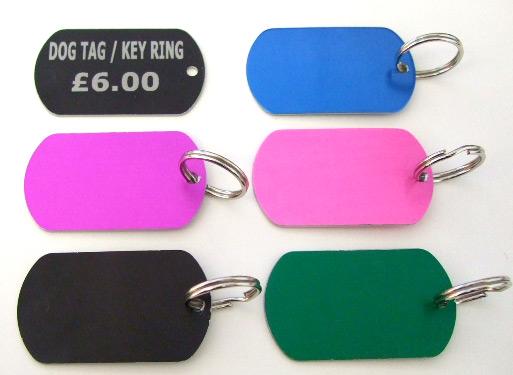 Coloured Dog Tag / Key Ring
