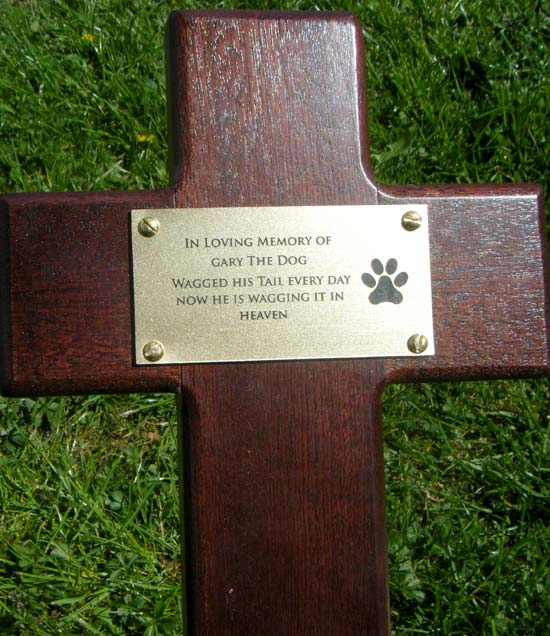 Mahogany Cross with Engraved Plate