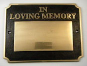 Large  Cast Brass Memorial Paque
