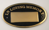 Oval Cast Brass Memorial Paque